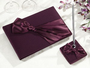 Plum Satin Guest Book with Pen Set