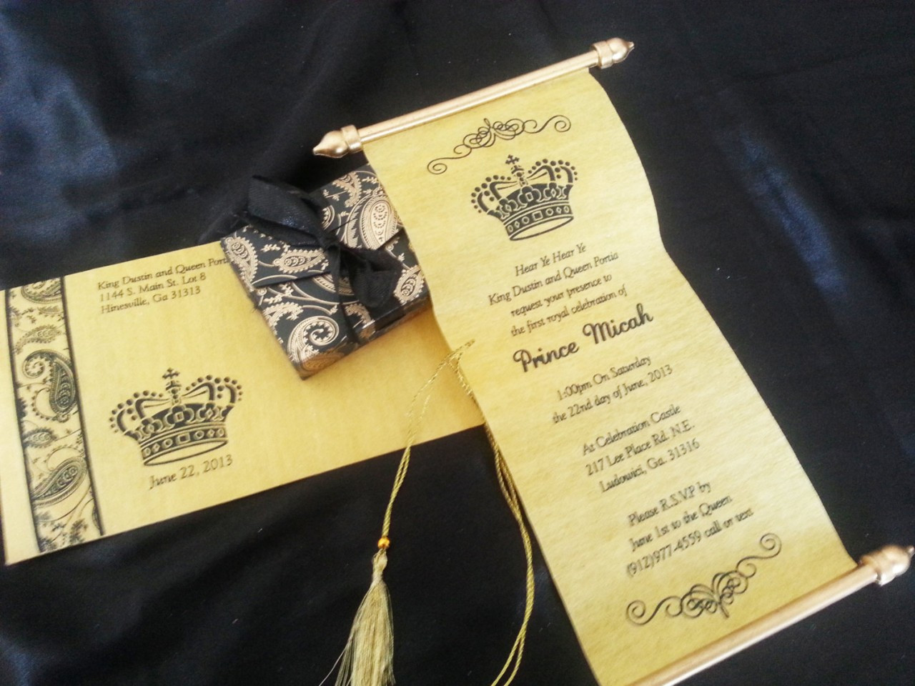 Mini Scroll Invitation With Pouch Ribbon
