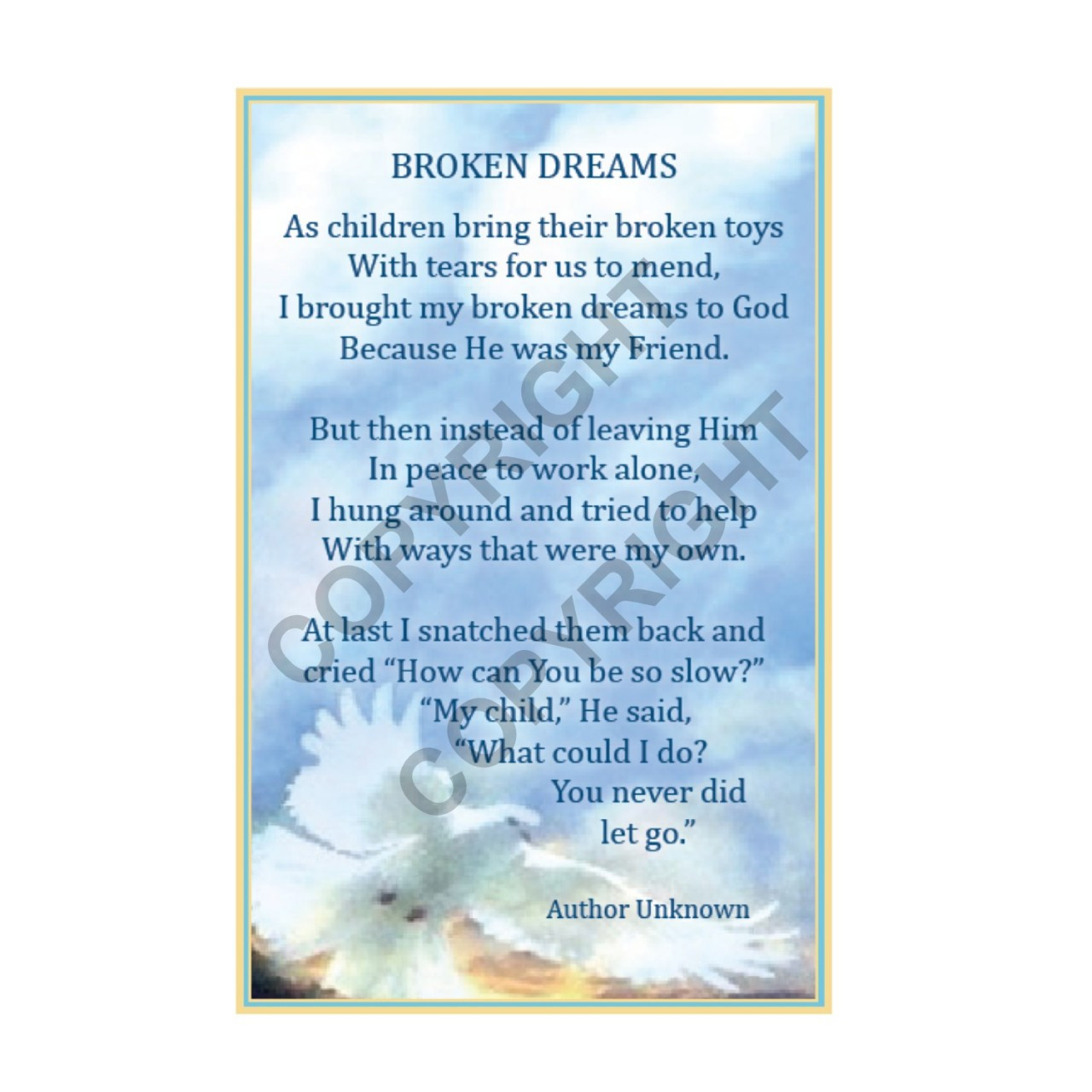 Broken Dreams - Prayer Card