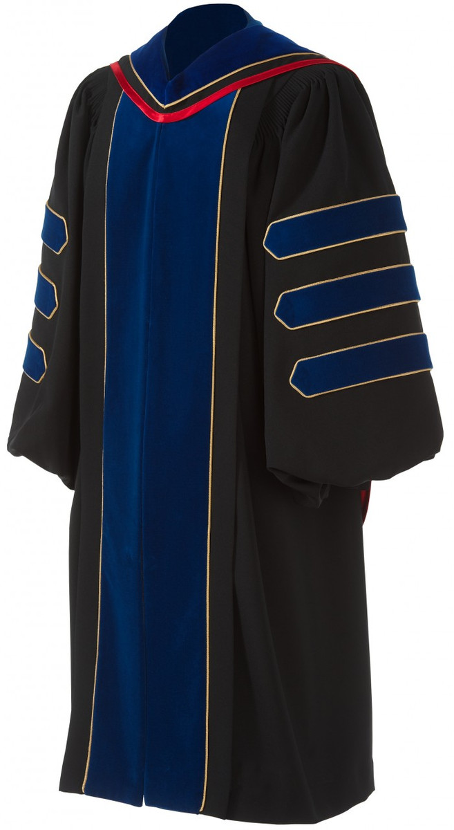 Doctoral Maroon GOWN TAM with Gold Piping Deluxe Package HOOD