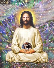 Jesus In Meditation - Cosmos 8 x 10  Ready to frame