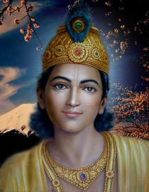 Krishna Art Card - Blue Sky Blossoms - 5x7 Cardstock Print
