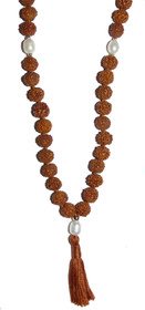 Kriya Mala - Rudraksha with Pearl Counters - 8mm