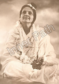 Anandamayi Ma Photo - Garlanded Older - sepia 5x7