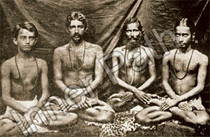 Paramhansa Yogananda Photo - Age 16 with Monks - Sepia 5x7
