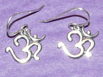Om (Aum) Earrings - Sterling Silver