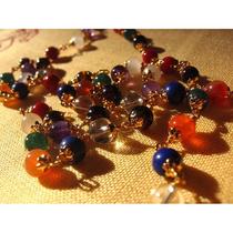 Navaratna Necklace - Gold Caps