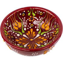 Turkish Ceramic Offering/Incense  bowl - Red Flowers