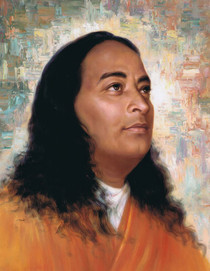 Paramhansa Yogananda Photo - Painted Background - Magnet