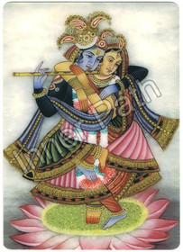 "Krishna Picture - Radha and Krishna - 4"" Magnet"