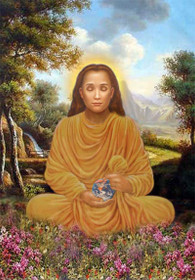 Mahavatar Babaji Picture - Lotus Pose in Orange Robes - Wallet Altar