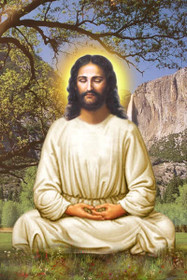Jesus Christ Picture - Lotus Pose with Waterfall - Wallet Altar