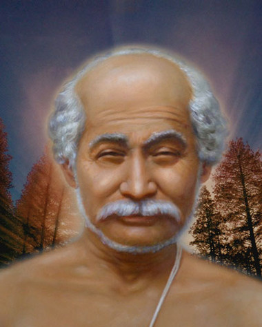 This uplifting colour photograph displays Lahiri Mahasaya in front of a sunrise in the trees.