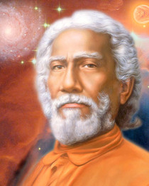 This uplifting photograph of Swami Sri Yukteswar displays the teacher with a red background, swirling stars, and a red moon.