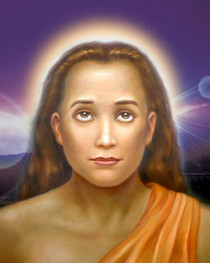 Mahavatar Babaji Portrait - Purple Background - Wallet Altar