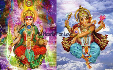 Lakshmi Chakras on one side / and Ganesh Dancing on other side Colourful Art Card