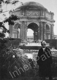 Yogananda in front of the Palace of Fine Arts in San Francisco 5x7 b&w print