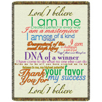 Lord I Believe Tapestry Throw - Multi-colored tapestry on cream background. Can be used as a comfortable throw or as a tapestry wall hanging. 100% cotton. Made in the USA.