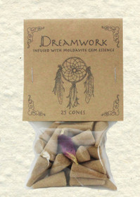 Dreamwork Incense Cones with Moldavite Gem Essence (25 Cones)