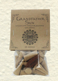 Grandfather Sun Incense Cones with Herkimer Diamond Gem Essence (25 Cones)