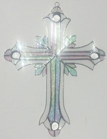 Iridescent Stained Glass Ornate Cross