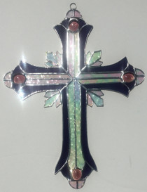 Purple Stained Glass Ornate Cross