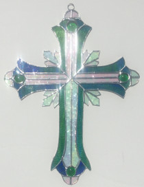 Peacock Blue-Green Stained Glass Ornate Cross