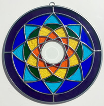 Rainbow Stained Glass Chakra Mandala - 8""