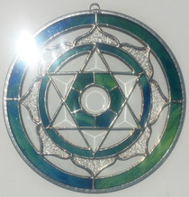 Heart Chakra Mandala - Peacock Blue/Green Stained Glass - 9""