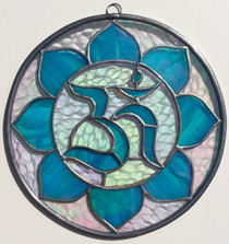 Om Mandala - Iridescent Blue Stained Glass - 8""