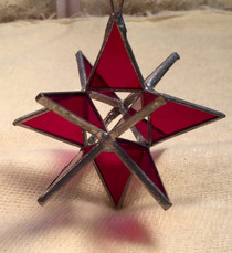 Merkabah Star  Stained Glass - Red