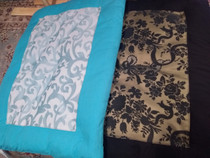 Zabuton - Turquoise Cotton with White/Turquoise Brocade