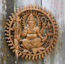 Wood Ganesha Round Wall Hanging
