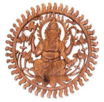 Wood Ganesha Round Wall Hanging