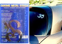 Om (Aum) Symbol 2 - Chrome Metal Sticker