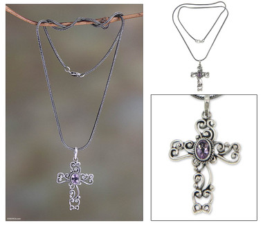 Hand Made Sterling Silver and Amethyst Necklace, 'Balinese Cross'