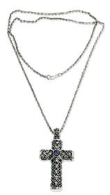 Amethyst Pendant Necklace 'Jasmine Cross'