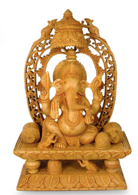 """Artisan Crafted Religious Wood Sculpture """"Ganesha's Blessing"""""""