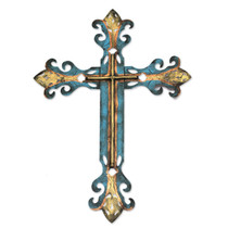 Handcrafted Blue Religious Cross, 'Royal Cross'