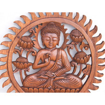 Wood Buddha Carving - Round