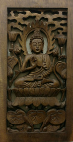 Wood Buddha Carving - Rectangle