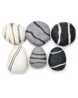 Zen Stone Pillow - Medium Oval - Felted Wool (Light Gray)