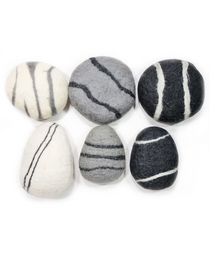 Zen Stone Pillow - Large Round - Felted Wool (Light Gray)