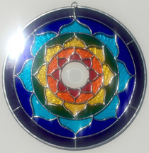 Rainbow Stained Glass Lotus Mandala - 8""