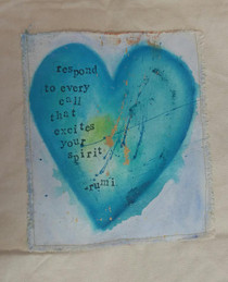 "Blue heart painted on 100% recycled cotton tote with a Rumi quote that states, ""Respond to every call that excites your spirit."""
