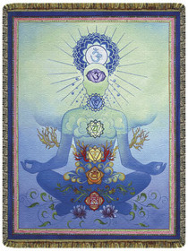 Chakra Man in Blue Tapestry Throw