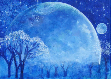 Blue Night Moon- Greeting Card