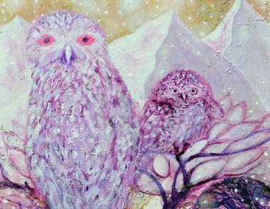Chakra Seven - Owls - Greeting Card