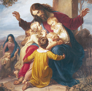 Christ with Children Picture 5 x 7 - Laminated Print