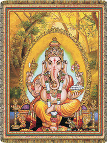Lord of Success Ganesha Tapestry Throw